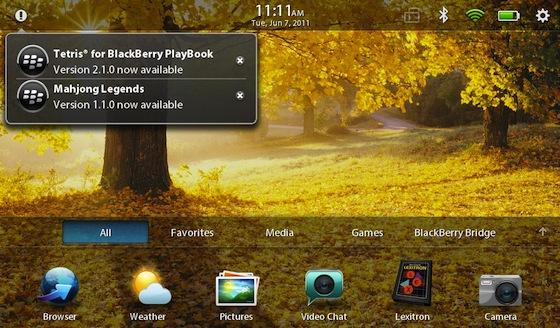 BlackBerry PlayBook App World Notifications