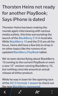 In Reader mode on the BlackBerry 10 browser
