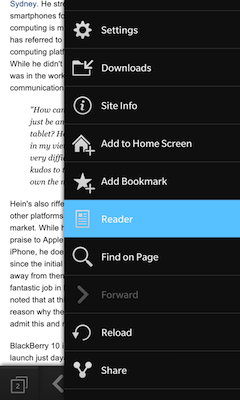 Reader mode in the Browser menu