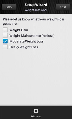 Body Buddy weight-loss goal