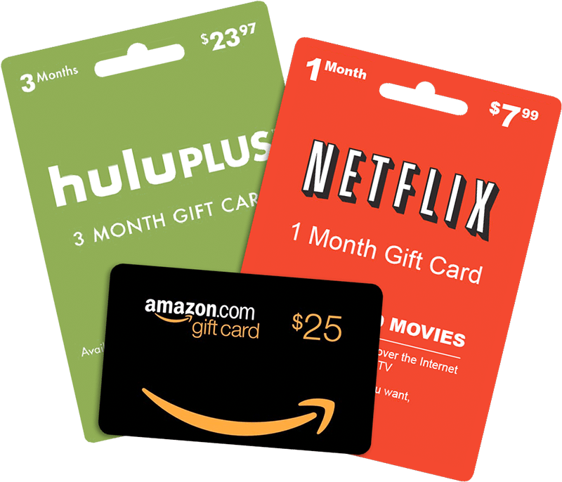 Music and movie streaming gift cards