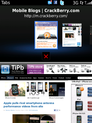 BlackBerry 6 - tabbed browsing