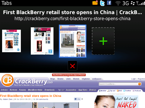 BlackBerry 6 - tabbed web browsing