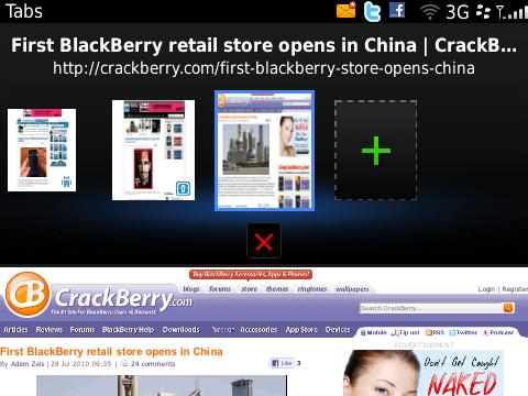 BlackBerry 6 - tabbed web browsing