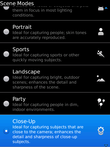 BlackBerry 6 - camera scene modes
