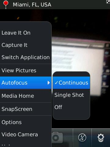 BlackBerry 6 - camera continuous autofocus