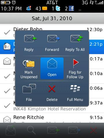 BlackBerry 6 - contextual popup