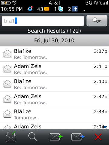 BlackBerry 6 - email search