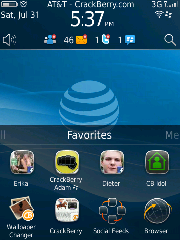 BlackBerry 6 - favorites