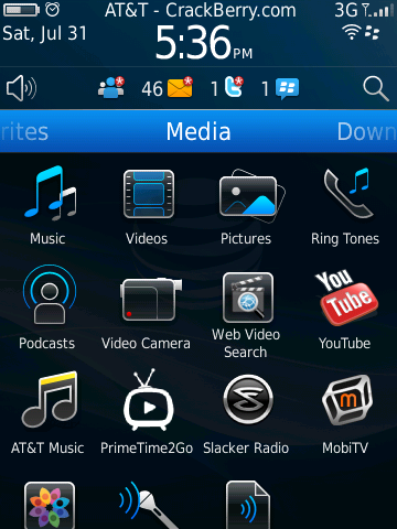 BlackBerry 6 - full view, media folder