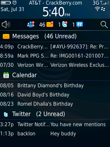 BlackBerry 6 - notifications preview