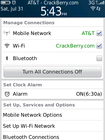 BlackBerry 6 - manage connections