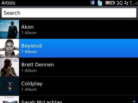 BlackBerry 6 - music player