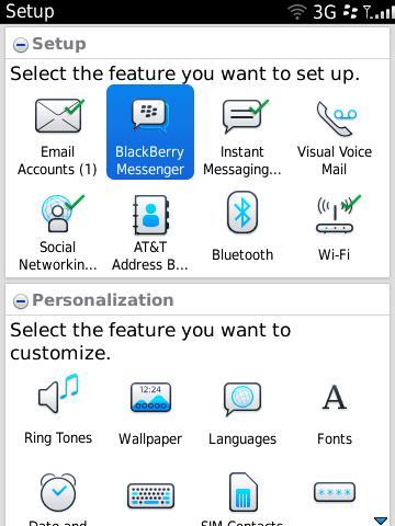 BlackBerry 6 - new setup wizard homescreen
