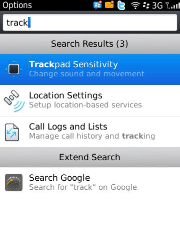 BlackBerry 6 - universal search