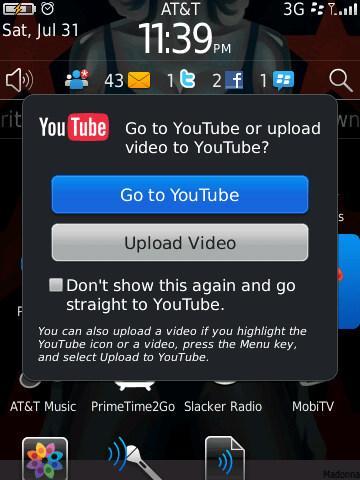 BlackBerry 6 - youtube app
