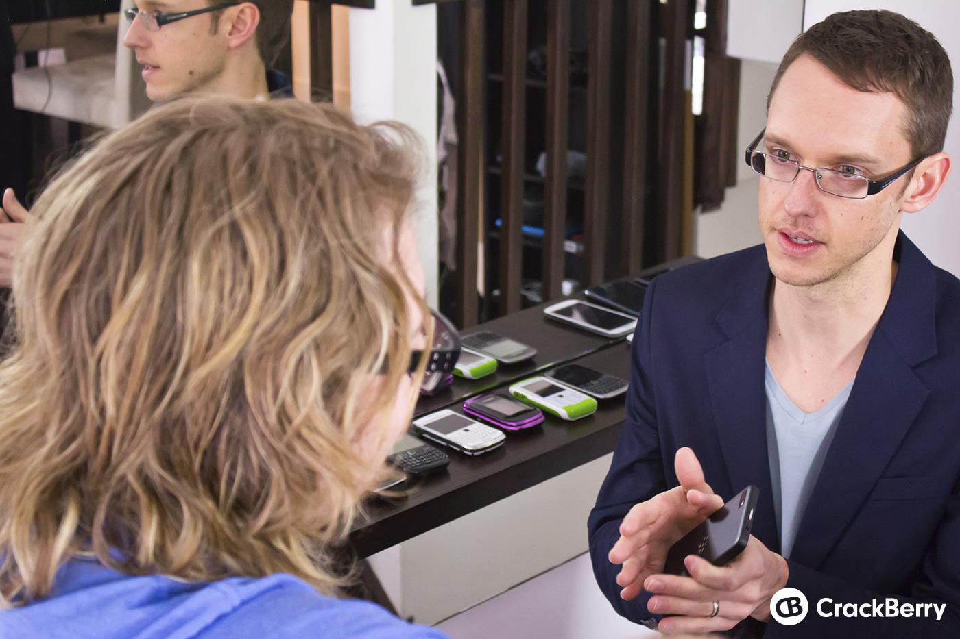 BlackBerry's Joseph Hofer (right), talks about the BlackBerry Z10's design