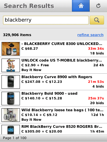 ebay for BlackBerry