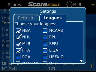 ScoreMoblle for BlackBerry