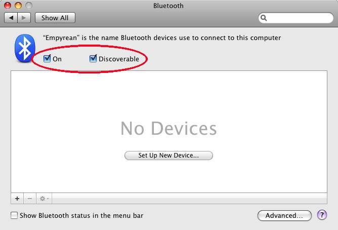 Bluetooth Preferences
