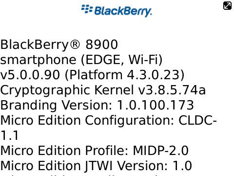 BlackBery 8900 about screen