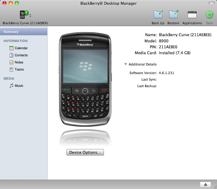 BlackBerry Desktop Manager For Mac Updated To Version 1.0.2