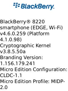 OS 4.6.0.259 for the BlackBerry Pearl Flip 8220