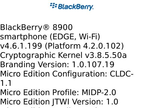 OS 4.6.1.199 for the BlackBerry Curve 8900