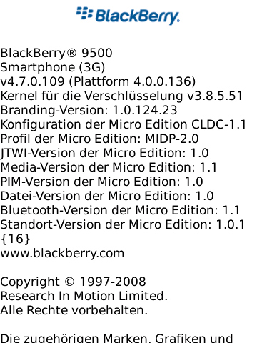 BlackBerry Storm 9500 OS 4.7.0.109