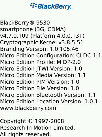 BlackBerry Storm 9530 OS 4.7.0.109