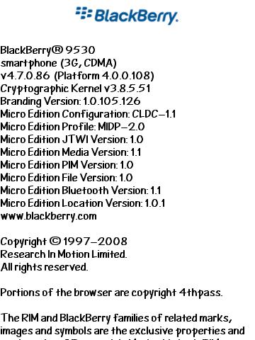 BlackBerry Storm 9530 OS 4.7.0.86