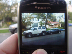 Snapping a photo on the Javelin's 3.2 megapixel camera. Image to the right is actual full size photo