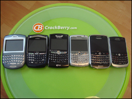 From left to right: the evolution of the BlackBerry full QWERTY keyboard