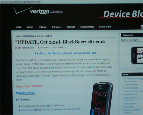 BlackBerry Storm2 Launching October 28th
