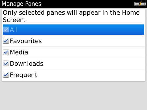 BlackBerry 6.1 - Manage Panes
