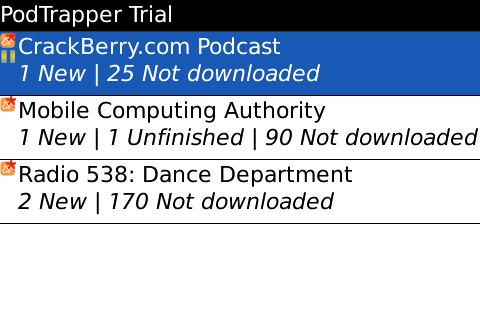 PodTrapper Podcast Manager for BlackBerry