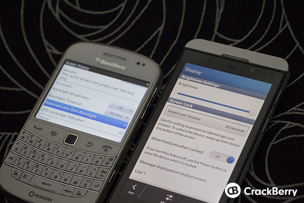 No Need for Auto-Dim Settings on the BlackBerry Z10