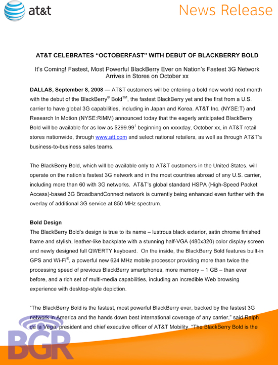 AT&T BlackBerry Bold Press Release