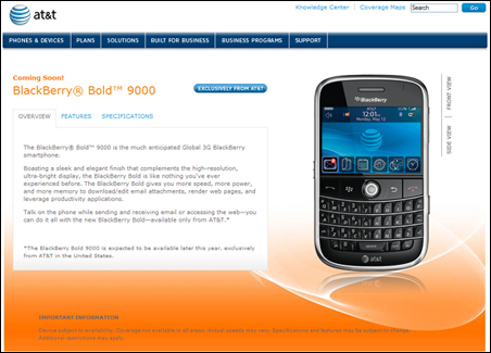 The BlackBerry Bold Appears on AT&T's website!