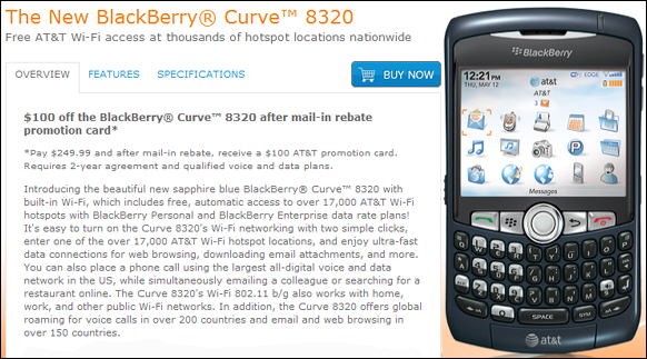 AT&T Launches the BlackBerry Curve 8320
