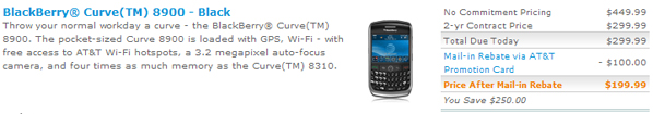 AT&T BlackBerry Curve 8900 Now Available