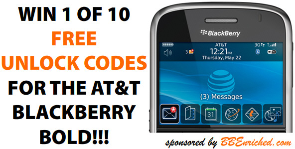 Win a FREE Unlock Code for the AT&T BlackBerry Bold Contest!