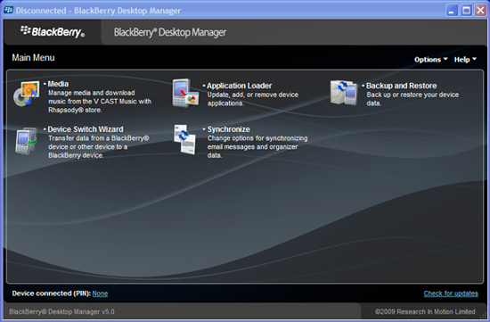 BlackBerry Desktop Manager Software 5.0