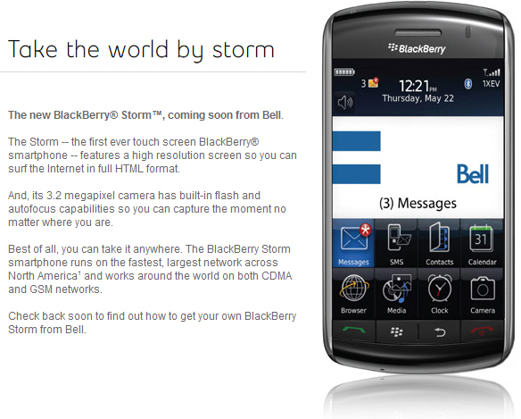 BlackBerry Storm by Bell!