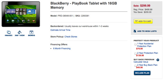 Best Buy PlayBook for $299