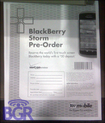 Pre-Order your BlackBerry Storm from Best Buy