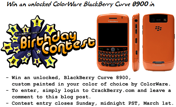Win a ColorWare BlackBerry Curve 8900!