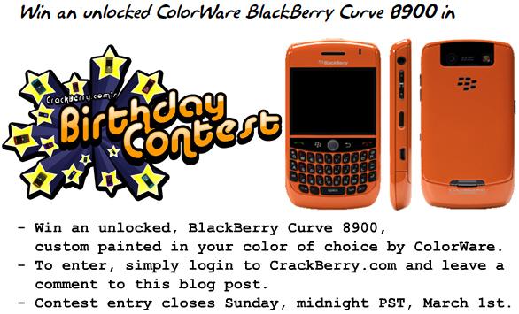Win a ColorWare BlackBerry Curve 8900!