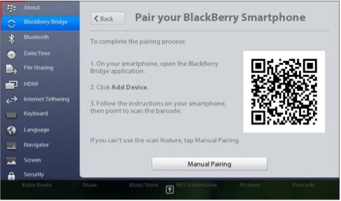 blackberry playbook manually connect to network