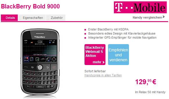 BlackBerry Bold 9000 Now Available in Germany!